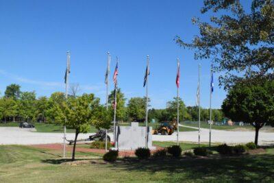Veteran's Memorial with Flags
